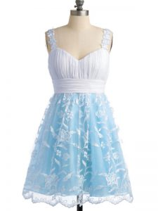 Glamorous Light Blue Sleeveless Lace Knee Length Quinceanera Court of Honor Dress