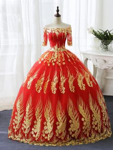 Half Sleeves Lace Up Floor Length Appliques 15th Birthday Dress