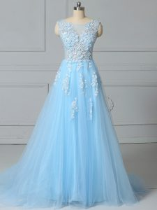 Exceptional Scoop Sleeveless Brush Train Lace Up Homecoming Dress Baby Blue Tulle