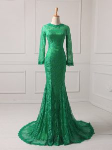 Pretty Green Mermaid Lace Scoop Long Sleeves Lace Zipper Mother of Groom Dress Brush Train