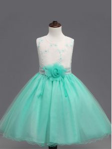Captivating Organza Sleeveless Knee Length Flower Girl Dresses for Less and Appliques and Hand Made Flower
