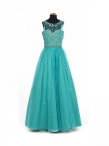 Gorgeous Teal Kids Formal Wear Wedding Party with Beading Scoop Sleeveless Lace Up