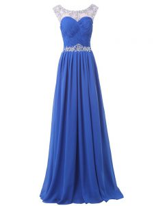 Adorable Blue Chiffon Side Zipper Homecoming Dresses Sleeveless Floor Length Sweep Train Beading