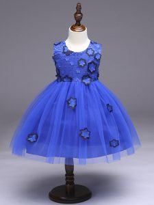 Excellent Knee Length Ball Gowns Sleeveless Royal Blue Flower Girl Dresses for Less Zipper
