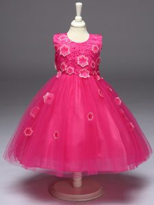 Sleeveless Knee Length Appliques and Bowknot Zipper Child Pageant Dress with Hot Pink