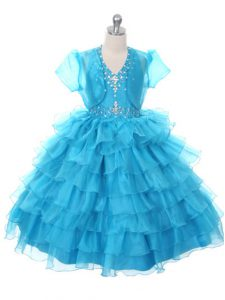 Sleeveless Floor Length Beading and Ruffled Layers and Bowknot Lace Up Kids Formal Wear with Baby Blue