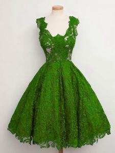 Green A-line Lace Court Dresses for Sweet 16 Lace Up Lace Sleeveless Knee Length
