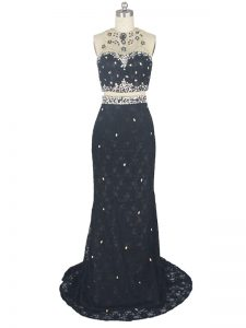 Colorful High-neck Sleeveless Lace Prom Dresses Beading and Lace Brush Train Zipper
