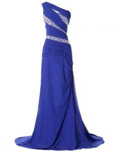 Blue Evening Gowns One Shoulder Sleeveless Brush Train Lace Up