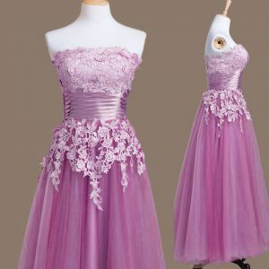 Suitable Lilac Sleeveless Tea Length Appliques Lace Up Bridesmaid Dress