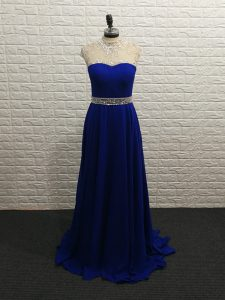Cheap Royal Blue Chiffon Zipper High-neck Sleeveless Prom Evening Gown Brush Train Beading