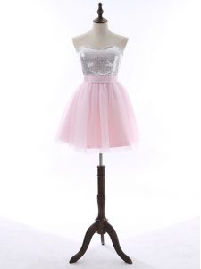 New Arrival Mini Length A-line Sleeveless Baby Pink Dress for Prom Zipper