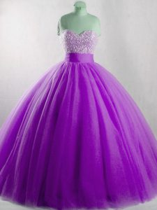 Designer Eggplant Purple Tulle Lace Up Quinceanera Gown Sleeveless Floor Length Beading