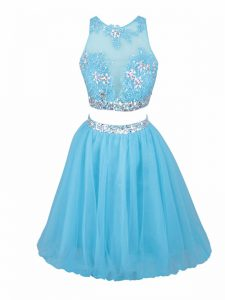 Aqua Blue Tulle Side Zipper Scoop Sleeveless Mini Length Prom Homecoming Dress Beading