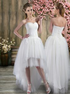 White Wedding Dress Beach and Wedding Party with Ruching Sweetheart Sleeveless Lace Up