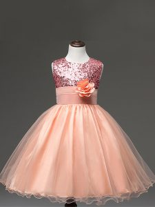 Knee Length Zipper Flower Girl Dresses for Less Peach for Wedding Party with Sequins and Hand Made Flower