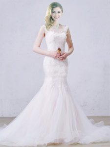 White Sleeveless Tulle Brush Train Lace Up Wedding Gown for Wedding Party
