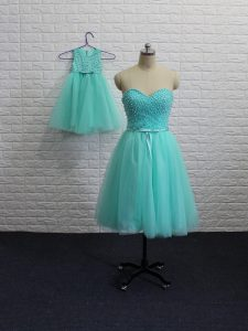 Clearance Aqua Blue Lace Up Dress for Prom Beading Sleeveless Mini Length