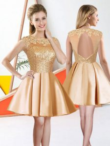 Fantastic Champagne Taffeta Backless Vestidos de Damas Sleeveless Knee Length Beading and Lace