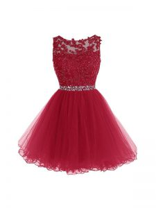 Scoop Sleeveless Zipper Homecoming Dress Burgundy Organza