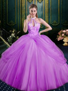 Glittering Lilac Halter Top Lace Up Beading and Pick Ups Quinceanera Dresses Sleeveless