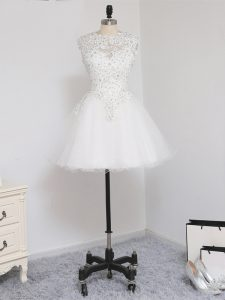 On Sale Mini Length White Junior Homecoming Dress Tulle Sleeveless Beading and Lace and Appliques