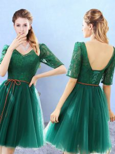 Unique Green V-neck Backless Lace Dama Dress for Quinceanera Half Sleeves