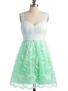 New Style Apple Green Sleeveless Knee Length Lace Lace Up Damas Dress