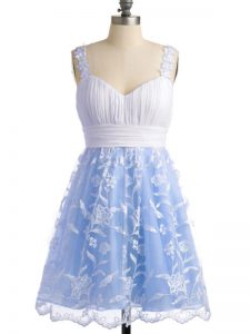 Light Blue Straps Neckline Lace Bridesmaid Dresses Sleeveless Lace Up