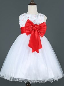 White Zipper Child Pageant Dress Bowknot Sleeveless Knee Length