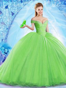 Fine Sleeveless Organza Brush Train Lace Up Quince Ball Gowns for Military Ball and Sweet 16 and Quinceanera