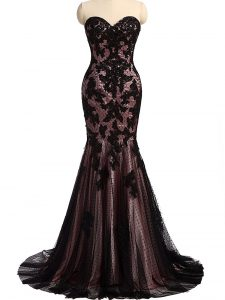Inexpensive Black Sweetheart Neckline Lace and Appliques Evening Dresses Sleeveless Lace Up