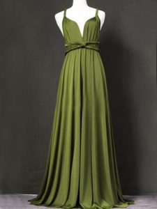 Classical Floor Length Criss Cross Quinceanera Court of Honor Dress Olive Green for Prom and Party and Wedding Party with Ruching
