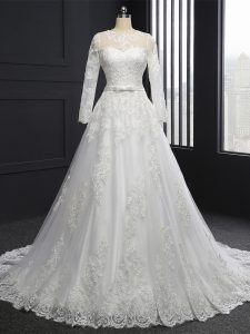 Customized White A-line Scoop Long Sleeves Tulle Brush Train Lace Up Lace Wedding Dresses