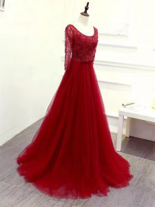 Wine Red Long Sleeves Brush Train Beading and Lace and Belt Dress Like A Star