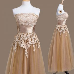 Brown Empire Strapless Sleeveless Tulle Tea Length Lace Up Appliques Bridesmaid Dresses