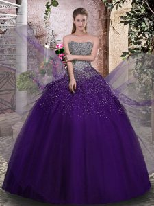Beauteous Sleeveless Floor Length Beading Lace Up Ball Gown Prom Dress with Purple