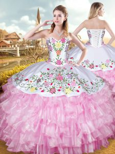 Floor Length Lace Up 15 Quinceanera Dress Rose Pink for Military Ball and Sweet 16 and Quinceanera with Embroidery and Ruffled Layers