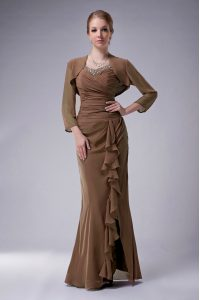 Brown Mermaid Straps Sleeveless Chiffon Floor Length Zipper Beading Mother Dresses