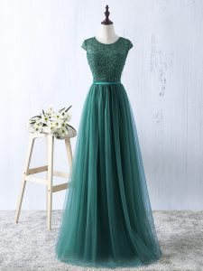 Fashionable Green Empire Scoop Sleeveless Tulle Zipper Beading Evening Dress