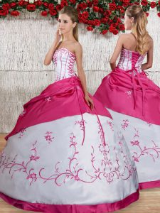Pretty White Sweet 16 Dresses Military Ball and Sweet 16 and Quinceanera with Embroidery and Pick Ups Strapless Sleeveless Lace Up