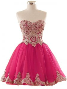 Discount Mini Length Hot Pink Prom Party Dress Tulle Sleeveless Appliques