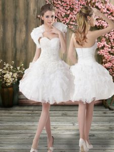Knee Length White Wedding Gowns Organza Sleeveless Beading and Embroidery