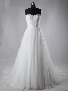 Chic White Sleeveless Lace Zipper Wedding Gown