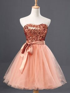 Customized Mini Length Peach Homecoming Party Dress Tulle Sleeveless Sequins