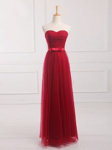 Sleeveless Floor Length Belt Lace Up Court Dresses for Sweet 16 with Wine Red
