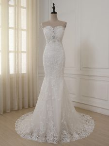 White Mermaid Lace and Appliques Wedding Dress Zipper Lace Sleeveless