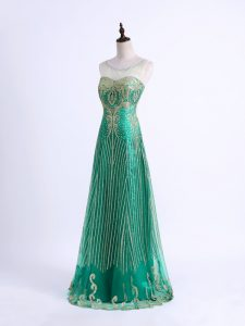 Discount Green Sweetheart Lace Up Beading and Appliques Juniors Evening Dress Sleeveless