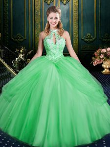 Top Selling Green Tulle Lace Up Vestidos de Quinceanera Sleeveless Floor Length Beading and Pick Ups