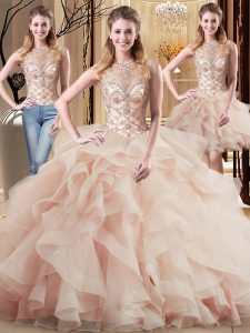 Graceful Brush Train Three Pieces 15th Birthday Dress Peach Scoop Tulle Sleeveless Lace Up